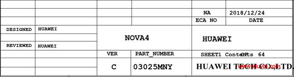 华为Nova 4 HL1VCEM (VCE-L22/VCE-AL00)手机图纸